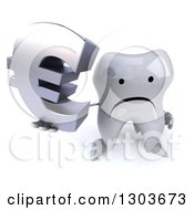 Clipart Of A 3d Unhappy Tooth Character Holding Up A Euro Symbol Royalty Free Illustration