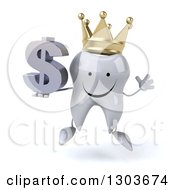 Clipart Of A 3d Happy Crowned Tooth Character Jumping And Holding A Dollar Symbol Royalty Free Illustration