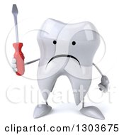 Clipart Of A 3d Unhappy Tooth Character Holding A Screwdriver Royalty Free Illustration