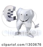 Clipart Of A 3d Happy Tooth Character Shrugging And Holding A Euro Symbol Royalty Free Illustration