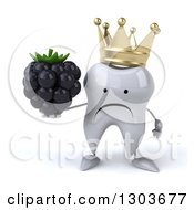 Clipart Of A 3d Unhappy Crowned Tooth Character Holding A Blackberry Royalty Free Illustration