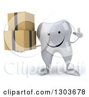 Clipart Of A 3d Happy Tooth Character Holding Up A Finger And Boxes Royalty Free Illustration