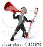 Clipart Of A 3d Young Black Businessman Or Dentist In A Suit Holding A Giant Tootbrush And Using A Bullhorn Royalty Free Illustration