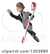 Clipart Of A 3d Young Black Super Businessman Or Dentist In A Suit Flying And Holding A Giant Tootbrush Royalty Free Illustration