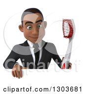 Clipart Of A 3d Young Black Businessman Or Dentist In A Suit Holding A Giant Tootbrush And Looking Down Over A Sign Royalty Free Illustration