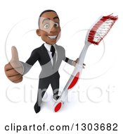 Clipart Of A 3d Happy Young Black Businessman Or Dentist In A Suit Holding Up A Giant Tootbrush And Thumb Royalty Free Illustration