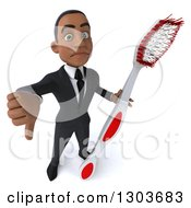 Clipart Of A 3d Unhappy Young Black Businessman Or Dentist In A Suit Holding Up A Giant Tootbrush And Thumb Down Royalty Free Illustration
