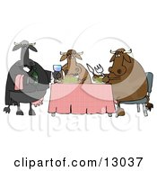 Male Cow Waiting Tables And Serving Wine To A Dining Cow Couple Clipart Illustration by Dennis Cox