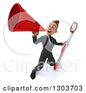 Clipart Of A 3d Happy Young Brunette White Businessman Or Dentist In A Suit Holding A Giant Toothbrush And Announcing Upwards With A Bullhorn Royalty Free Illustration