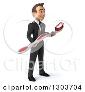 Clipart Of A 3d Happy Young Brunette White Businessman Or Dentist In A Suit Facing Right And Holding A Giant Toothbrush Royalty Free Illustration