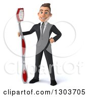 Clipart Of A 3d Happy Young Brunette White Businessman Or Dentist In A Suit Standing With A Giant Toothbrush Royalty Free Illustration