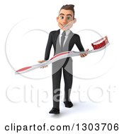Clipart Of A 3d Happy Young Brunette White Businessman Or Dentist In A Suit Walking And Holding A Giant Toothbrush Royalty Free Illustration