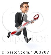 Clipart Of A 3d Happy Young Brunette White Businessman Or Dentist In A Suit Sprinting To The Right Holding A Giant Toothbrush Royalty Free Illustration