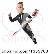 Clipart Of A 3d Happy Young Brunette White Super Businessman Or Dentist In A Suit Holding Up A Finger And Flying With A Giant Toothbrush Royalty Free Illustration