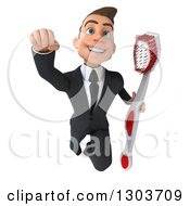 Clipart Of A 3d Happy Young Brunette White Super Businessman Or Dentist In A Suit Flying With A Giant Toothbrush Royalty Free Illustration