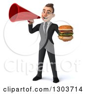 Clipart Of A 3d Happy Young White Businessman Holding A Double Cheeseburger And Using A Megaphone Royalty Free Illustration