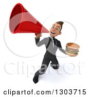 Clipart Of A 3d Happy Young White Businessman Holding A Double Cheeseburger And Announcing Upwards With A Megaphone Royalty Free Illustration