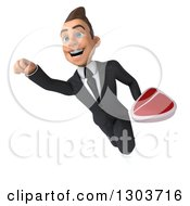 Clipart Of A 3d Happy Young White Businessman Flying With A Beef Steak 2 Royalty Free Illustration