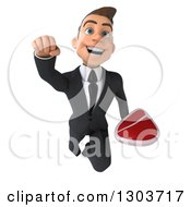 Clipart Of A 3d Happy Young White Businessman Flying With A Beef Steak Royalty Free Illustration