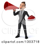 Clipart Of A 3d Happy Young White Businessman Holding A Beef Steak And Using A Bullhorn Royalty Free Illustration
