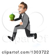 Clipart Of A 3d Happy Young White Businessman Sprinting To The Left And Holding A Green Bell Pepper Royalty Free Illustration