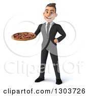 Clipart Of A 3d Happy Young White Businessman Holding A Pizza Royalty Free Illustration