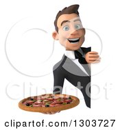 Clipart Of A 3d Happy Young White Businessman Holding A Pizza Around A Sign Royalty Free Illustration