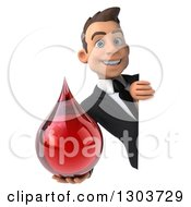 Clipart Of A 3d Smiling Young White Businessman Holding A Blood Drop Around A Sign Royalty Free Illustration
