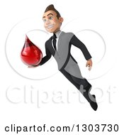 Clipart Of A 3d Happy Young White Businessman Flying While Holding A Blood Drop Royalty Free Illustration