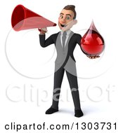 Clipart Of A 3d Happy Young White Businessman Holding A Blood Drop And Using A Bullhorn Royalty Free Illustration