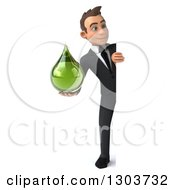 Clipart Of A 3d Full Length Young White Businessman Holding A Green Droplet Around A Sign Board Royalty Free Illustration by Julos