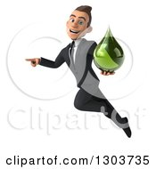 Clipart Of A 3d Happy Young White Businessman Flying Pointing And Holding A Green Droplet Royalty Free Illustration by Julos