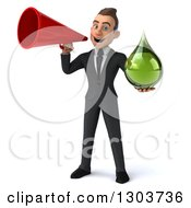 Clipart Of A 3d Happy Young White Businessman Holding A Green Droplet And Using A Bullhorn Royalty Free Illustration by Julos