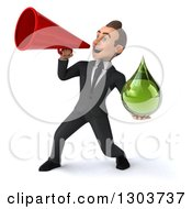 Clipart Of A 3d Happy Young White Businessman Facing Left Holding A Green Droplet And Using A Bullhorn Royalty Free Illustration by Julos