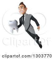 Clipart Of A 3d Happy Young Brunette White Super Businessman Or Dentist In A Suit Floating And Holding A Tooth Royalty Free Illustration
