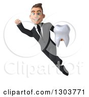Clipart Of A 3d Happy Young Brunette White Super Businessman Or Dentist In A Suit Flying And Holding A Tooth Royalty Free Illustration