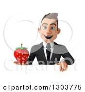 Clipart Of A 3d Happy Young White Businessman Holding A Strawberry Over A Sign Royalty Free Illustration
