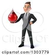 Clipart Of A 3d Happy Young White Businessman Holding A Blood Drop Royalty Free Illustration