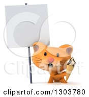 Clipart Of A 3d Ginger Cat Holding A Waffle Ice Cream Cone Under A Blank Sign Royalty Free Illustration by Julos