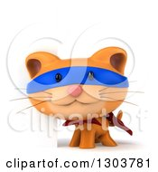 Clipart Of A 3d Super Hero Ginger Cat By A Blank Sign Royalty Free Illustration by Julos