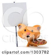 Clipart Of A 3d Ginger Cat Holding A Pizza Under A Blank Sign Royalty Free Illustration by Julos