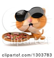 Clipart Of A 3d Ginger Cat Wearing Sunglasses And Running With A Pizza Royalty Free Illustration by Julos