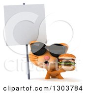 Clipart Of A 3d Ginger Cat Wearing Sunglasses And Holding A Double Cheeseburger Under A Blank Sign Royalty Free Illustration by Julos
