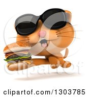 Clipart Of A 3d Ginger Cat Wearing Sunglasses And Running With A Double Cheeseburger Royalty Free Illustration by Julos