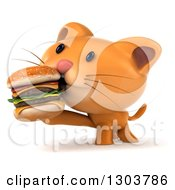 Clipart Of A 3d Ginger Cat Eating A Double Cheeseburger Royalty Free Illustration by Julos