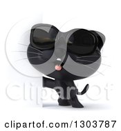 Clipart Of A 3d Black Kitten Wearing Sunglasses And Facing To The Left Around A Sign Royalty Free Illustration