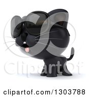 Clipart Of A 3d Black Kitten Wearing Sunglasses And Facing To The Left Royalty Free Illustration