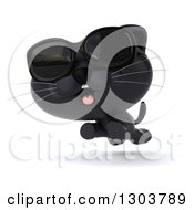 Clipart Of A 3d Black Kitten Wearing Sunglasses And Running Royalty Free Illustration