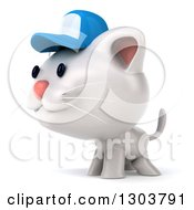 Clipart Of A 3d White Kitten Wearing A Blue Baseball Cap And Facing Left Royalty Free Illustration