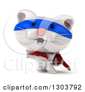 Clipart Of A 3d White Super Hero Kitten Rearing And Presenting To The Left Royalty Free Illustration